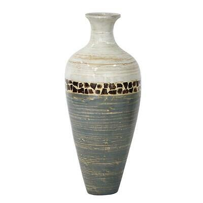 Heather Ann Creations Mika 24in. Spun Bamboo Vase, White&Gray with Coconut Shell