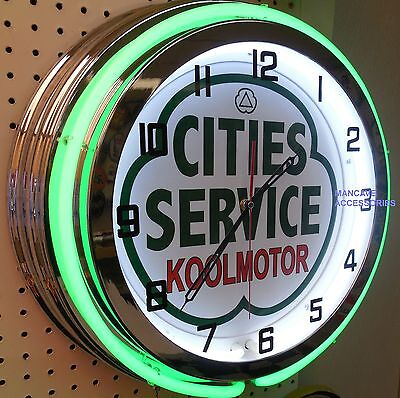 """18"""" CITIES SERVICE Koolmotor Gasoline Gas Station Sign Double Neon Clock"""