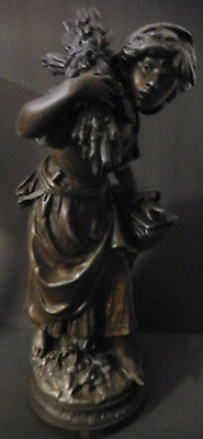 Antique Bronze Patinated Metal Statue, Harvest Woman, By Auguste Moreau