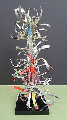 1998 DOROTHY GILLESPIE aluminum COLOR ENAMEL ribbons TABLE TOP sculpture