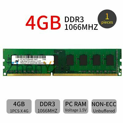 4GB PC3-8500U DDR3 1066MHz 240pin CL7 2Rx8 memory Computer PC Ram For Micron UK