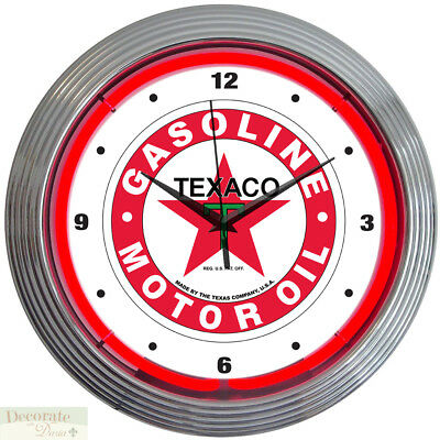 "TEXACO GASOLINE MOTOR OIL 15"" Neon Wall Clock Glass Face Chrome Case 8TXOIL New"