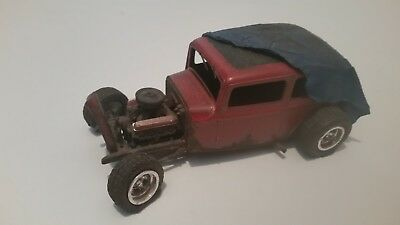 Ford Sedan W/Tarp - Rusted, Weathered Rat Rod - Vintage Built - Junkyard Diorama