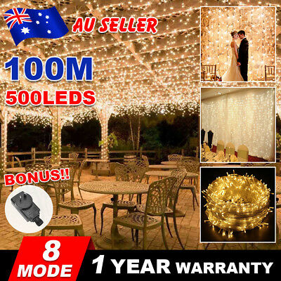 Warm White 500LED 100M Waterproof Christmas Fairy String Lights Wedding