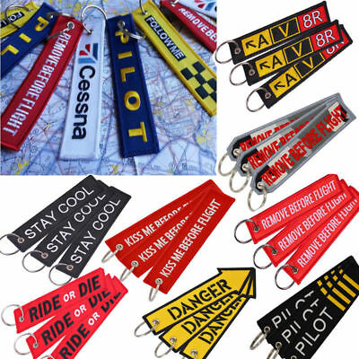 REMOVE BEFORE FLIGHT PILOT FOLLOW ME-Key Chain Luggage Tag Embroidery Keychain