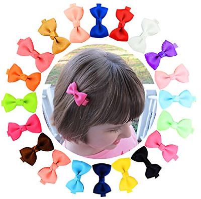 YHXX YLEN 20 Pcs Baby Girls Hair Bows Grosgrain Ribbon Clips for Infant Toddlers