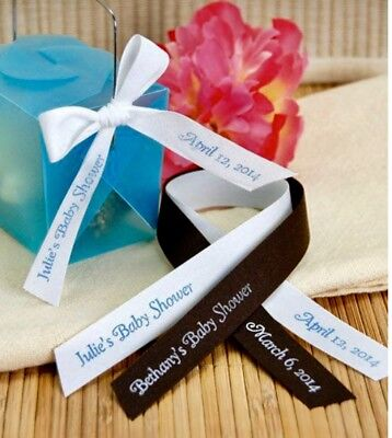 "75 Personalized Ribbon 1/4"" 3/8"" Wedding Birthday Baptism Baby Shower Favors"