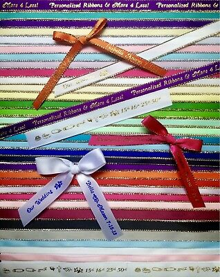 "12 Personalized Ribbon 1/4"" 3/8"" Christening Sweet 16 Quinceañera XV Recuerdos"
