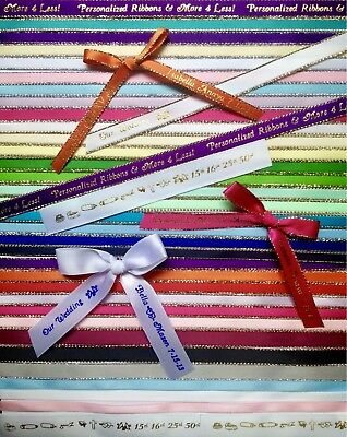"75 Personalized Ribbon 1/4"" 3/8"" Christening Sweet 16 Quinceañera XV Recuerdos"