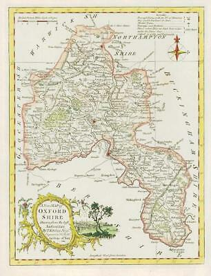 1764 Original Antique Map OXFORDSHIRE by Thomas KITCHIN Hand coloured (29)