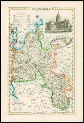 1846 - Antique Map of OXFORDSHIRE by Slater CHRIST CHURCH CATHEDRAL OXFORD