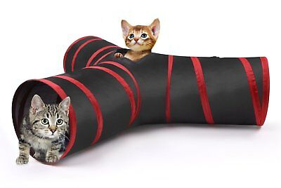 Pet Collapsible Cat Play Tunnel 3 Way Kitty Indoor Exercise Tube Toy