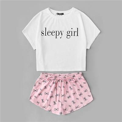 9ee270e40d SHEIN Summer Two Piece Set Sleepwear Multicolor Short Sleeve Graphic Letter  Prin