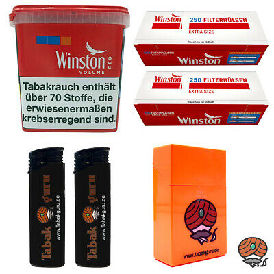 1x Winston Red/Rot Giant Box 370g Volumentabak, Extra Hülsen, Feuerz. Box