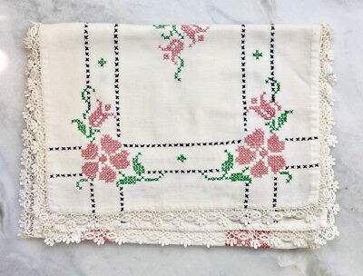 vintage cross stitch embroidered floral table runner w/lace edge