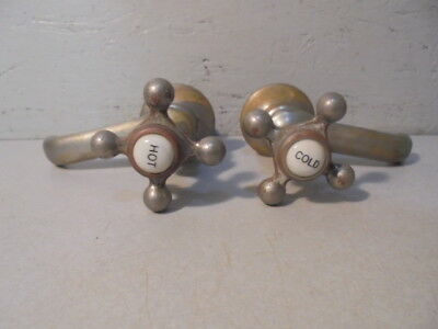 Vintage Standard Chrome Over Brass Hot & Cold Ceramic Top Faucetts