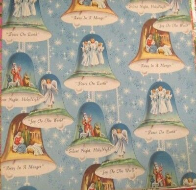 VTG UNUSED CHRISTMAS GIFT WRAPPING Blue PAPER MCM Bells with Songs