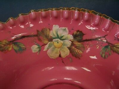 Victorian Pink Cased Glass.Brides Bowl with Ruffled Rim  hand  painted  flowers.