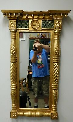 Antique American Late Federal Empire Style Glass Hanging Pier Mirror c1880s