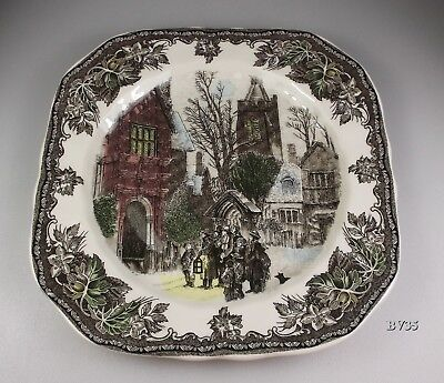 Johnson Brothers Friendly Village Christmas Square Salad Plate Church In Village
