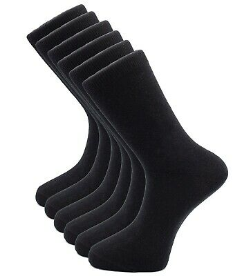 6 Pairs Mens Cotton Dress Socks Black Business Classic Casual Sock Size 10-13