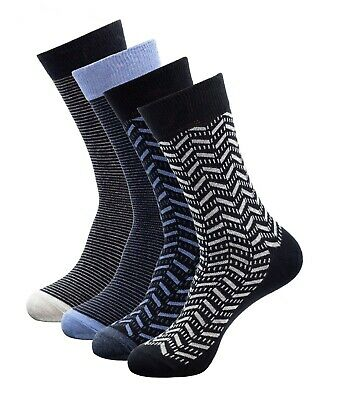 4 Pairs Mens Casual Cotton Socks Black Classic Striped Gift Box Shoe Size 8-12
