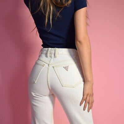 Vtg 90s white denim HIGH WAIST skinny crop GUESS frayed painters jeans pants 29