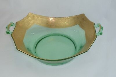 WHEELING Decorated Wide Gold Encrusted Band Green Glass Handled Bowl