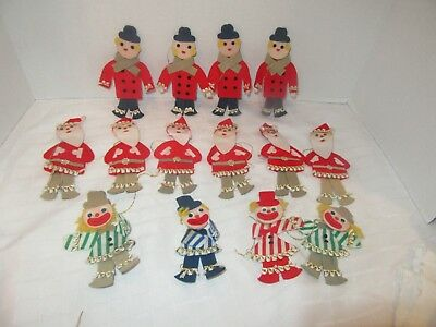 Vintage Japan Handcrafted Felt Christmas Ornament Lot of 14 Santa Clown Caroller
