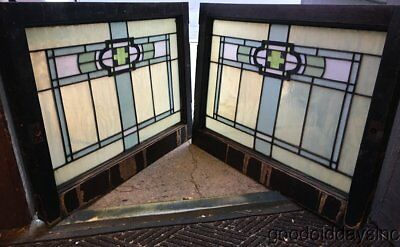 "2 of 4 Antique Arts & Crafts Stained Leaded Glass Transom Windows 32"" by 23"""