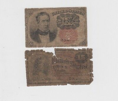 Fractional Currency Civil War item to 1870's 2 notes   lower grade
