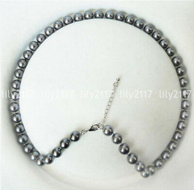 "Beautiful Natural 8mm gray Shell Pearl Round Gemstone Beads Necklace 18"" AAA"