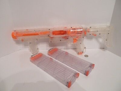 Nerf Clear Raider Rapid Fire Blaster N-Strike w/ 2 18X Clips Target Exclusive !!