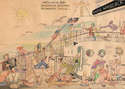 1948 - Comic Watercolor Painting of Live Aboard a Post-WWII Refugee Ship