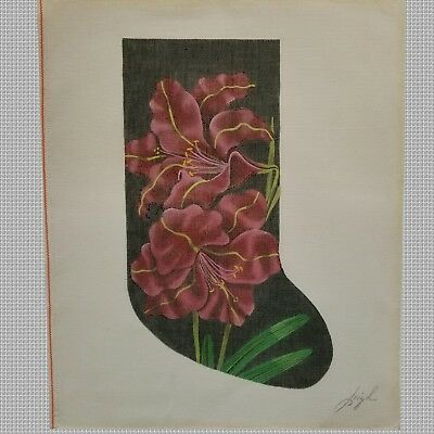 Needlepoint Handpainted By Leigh Christmas Stocking Mash 14. Signed.