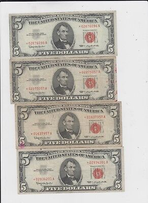 Red Seal $5  1963 group of 4 stars  lower grade