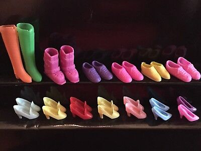 13 Pairs Assorted Barbie Shoes- Snow Boots, Low Top Sneakers/Tennis Shoes, Heels