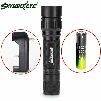 Zoomable 15000LM 3 Mode T6 LED Flashlight 18650 Charger Focus Torch Camping