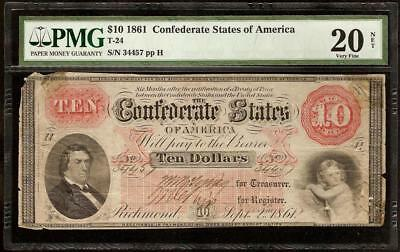 1861 $10 Dollar Bill Confederate States Currency Civil War Note Money T-24 Pmg