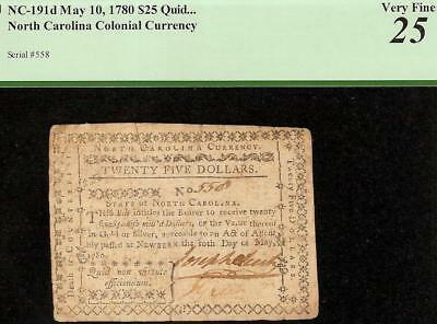 1780 $25 DOLLAR QUID NON VIRTUTE NOTE COLONIAL CURRENCY PAPER MONEY NC-191d PCGS