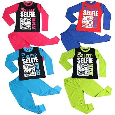 Kids Girls Boys Pajamas Designer Eat Sleep Selfie Repeat Lounge Wear PJS 2-13 Yr