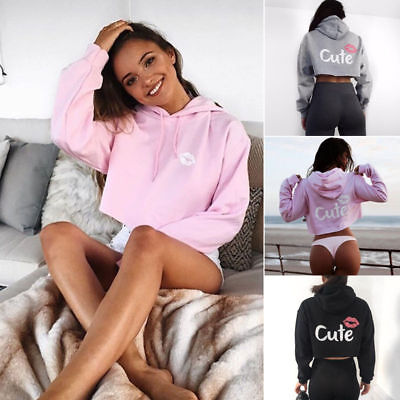 Women Hoodies Sweatshirt Sweater Crop Tops Long Sleeve Loose Pullover Baggy