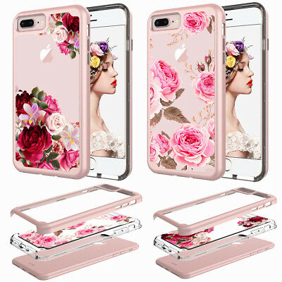 For iPhone 7 8 6s 6 Plus Girly Floral Slim Hybrid Crystal Shockproof Clear Case