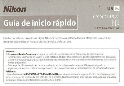 Nikon Coolpix L16/l18 Digital Camera Quick Start Instruction Manual-Spanish Text