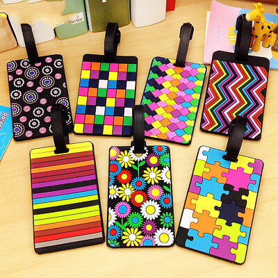 Geometry Pattern Silicone Luggage Tags Card Case Baggage Name Address Label New