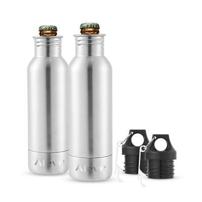 2PCS 12oz Stainless Steel Beer Cooler Cold Keepers Bottle Insulator with Opener