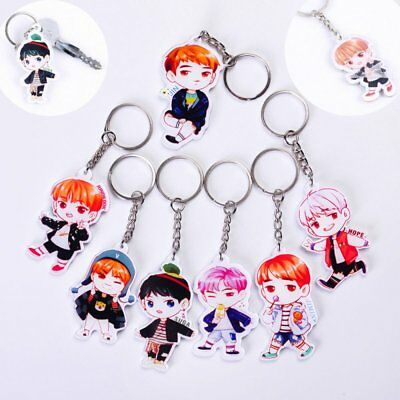 Cute Kpop BTS Cartoon Collection Character Keychain Keyring Bag Pendant Chain