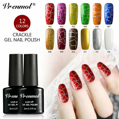 Saviland 12PCS Crack UV LED Gel Nail Polish Crackle Gold Silver  Primer Varnish