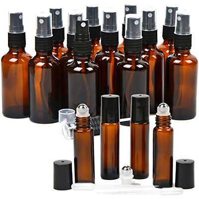 16 Pack Essential Oil Glass Bottles, 12 Black Fine Mist Amber Glass Spray 2OZ, 4