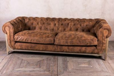Dijon Tufted Leather Sofa Button Back Chesterfield Style Sofa In Two Colours